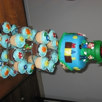 Mario Cupcake Tower   For my son's 6th Birthday.