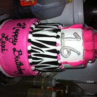 Hot Pink Black N White sweet 16 cake