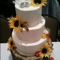 "Fall Cake Tree stump base w/10"", 8"", 6"" frosted tiers. Fake flowers"