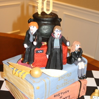 Harry Potter   Birthday cake for my 10 year old. included Harry, Hermione, Ron, glasses, wand, cauldron, and various other HP items.