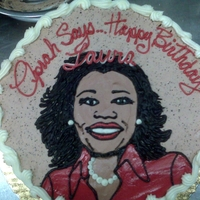 Oprah! This was a bit of a challenge. Drawing Oprah from a photograph with buttercream!
