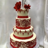 Red And White Wedding All buttercream wedding cake