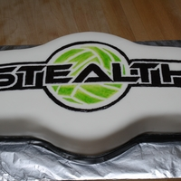Stealth Cake Did this cake and 100 cupcakes in one night. Aaah! This is the logo for a local vball club. TFL!