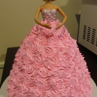 Barbie Doll Cake Buttercream icing on domed cake to create gown