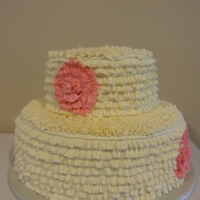 Cake For Baptism Simple buttercream ruffle with buttercream pink flower