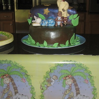 Sleepy Animal Baby Shower Gum paste animals, purchased baby, cake covered in modeling chocolate and dusted with luster dust