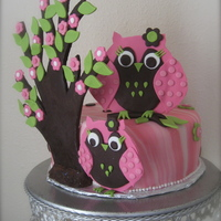 Pink Owl Baby Shower Modeling chocolate and gum paste decorations, dusted with disco dust