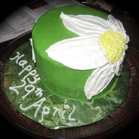 Large Daisy Cake frosted and piped bc