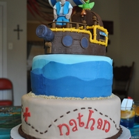Nathan's 4Th Birthday Jake and the Neverland Pirates. Chocolate cake w/ Peanut Butter Heaven filling by CakePubGirl and Peanut Butter buttercream by SeriousCakes...