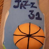 Basketball Jazz Cake Used a bowl cake for the ball and sheet cake for the rest. Fondant covered