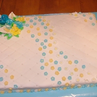 Slab Cake wedding cake , butter cream, fondant flowers, plain but pretty