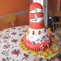 Dr Suess the hat is made with rice krispies, fondant, all hand drawn.