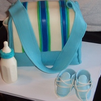 Diaper Bag Cake Cake made for a co-workers baby shower today. Inspired by Helipops. I made this cake for the first time a few years back and was not happy...