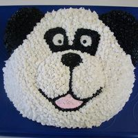 Panda Bear Wilton cake pan. This is fun. Yellow cake with BC frosting.