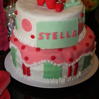 Strawberry Shortcake 1St Birthday strawberry cake, strawberry filling, white chocolate fondant
