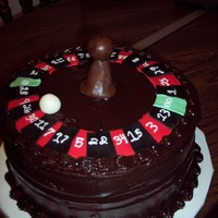 Roulette Cake roulette cake for a 30th birthday. chocolate fudge cake with chocolate fudge cooked icing.