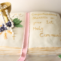 Communion Cake client sent me a pic of this cake from cakeladycakes on flickr, its replication of that but learnt alot in this one