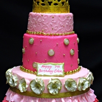 "Pink Princess  This cake was done with both buttercream and fondant accents. It was to celebrate the birthday of a ""tot beauty queen."" They..."