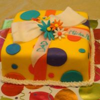 Giftbox Cake This was my first shot at working with fondant and buttercream cake. I made a white square cake with strawberry filling and iced with...