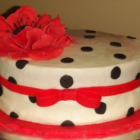 Black & White Cake Red Velvet Cake with Cream Cheese Frosting Filling. Covered in Cream Cheese Fondant and Embellishments are made of Fondant. All Cake...