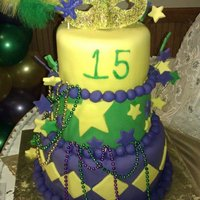 Mardi Gras Sweet 15  I got this idea from user: MAYWEST. (Thanx) This was for a sweet 15. Whole cake was covered in Fondant. Stars, and decorations are all...