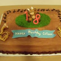 Tubas & Cow?   For a girl who loves cows and plays the tuba in high school band.Tubas, cow, numbers & banner all hand modeled fondant/gumpaste.