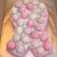 Pink Ribbon Cake With Cake Balls  Modeled after Bakerella's Valentine box of chocolates cake, I made this cake as a favor for a friend for a party in her sister's...