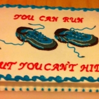 Runners Cake Chocolate fudge cake with butter cream icing. Hand drawn running shoes.