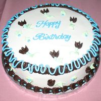 Sky Blue And Chocolate Birthday Cake Sweet peas and rose buds in chocolate BC