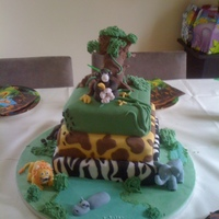 Jungle Birthday Cake My son's 7th birthday he asked for a jungle cake, 3 tiered cake all edible, took a couple of days to finish. But he loved so it worth...