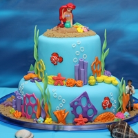"Under The Sea/ariel Birthday Cake I made this for my daughter's 5th Birthday. The theme was The Little Mermaid/Under the Sea. 6"" top tier and 10"" bottom..."