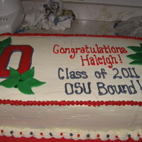 Osu Bound Grad Cake Half chocolate half vanilla cake with buttercream icing. Buckeye nuts are home made buckeye candies and leaves are leftover buckeye peanut...