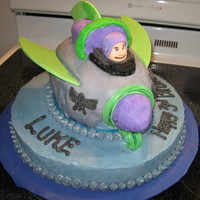 Buzz Lightyear   Buzz cake for great nephew. Vanilla cake with butter cream and fondant decorations.