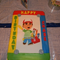 Handy Manny Birthday Party This is made with half vanilla and half chocolate cake. I used butter cream icing on the cake and the top is covered in MMF fondant. All of...