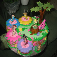 Tinkerbell Fairies #2   Made this cake again with a small variation. Made tree stump and tree is different.