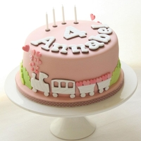 "Choo Choo Train 8"" cake covered in fondant. The train and letters I have used cutters"