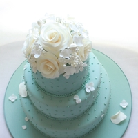 "Acqua Spring   6"", 9"" and 12"" round cake covered in sugar paste with sugar flowers on the top"