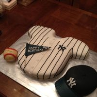 Yankee Themed Cake I Made For My Dads Birthday The Hat And Ball Are Rice Krispie Treat Covered In Fondant Yankee Themed cake I made for my dads birthday. The hat and ball are rice krispie treat covered in fondant.