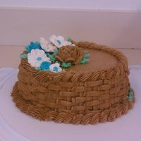 Basket Weave Cake With Roses buttercream basket weave and rose and flowers royal icing