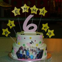 "High School Musical Birthday 6"" chocolate and 8"" yellow filled and frosted in buttercream. edible image plaque and fondant/gumpaste stars and 6. stars were..."