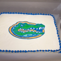Gator Grooms Cake This is a red velvet cake with cream cheese frosting. The gator is a FBCT.
