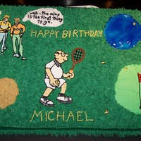 Confused Birthday Cake My aunts friend wanted me to make a cake for a man that was turning 65. She said that his favorite sports were golf and tennis and she said...