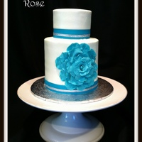 "Small 4 Amp 6 Cake For Cutting At A 25Th Wedding Anniversary For My Sweet Friends The Wedding Colors Were White Amp Turquoise Alth Small 4"" & 6"" cake for cutting at a 25th wedding anniversary for my sweet friends. The wedding colors were white &..."