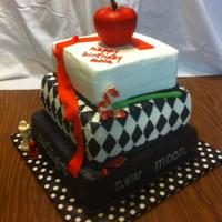 Twilight Theme Cake The Names Of The Books Are On Sides Of Bottom Tier White Cake With Buttercream Icing Apple And Chess Pieces Are Candy Twilight theme cake. The names of the books are on sides of bottom tier. white cake with buttercream icing. apple and chess pieces are...