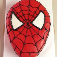 Spiderman *Hand carved white cake with buttercream.
