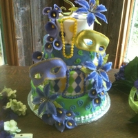 Mardi Gras Themed Wedding Cake   gumpaste and fondant