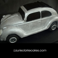 "Vintage Vw Bug/beetle Ragtop Cake  I used a 14"" round to make this cake. I found a paper model car template on line which I blew up to size to figure out the details -..."