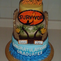 "Graduation Cake For My Bosses Daughter She Is Grateful That They Survived High School I Hand Painted The Logo Except For Fondant Lett Graduation Cake for my bosses daughter. She is grateful that they ""Survived"" High School! I hand painted the Logo (except for..."