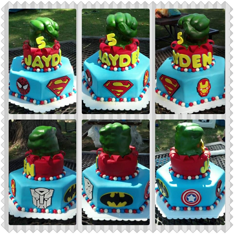 Super Heros I had so much fun doing this cake and I am very proud of how it turned out. The Hulk's fist is made out of fondant and RKT. I used and...