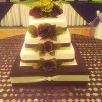 Plum & Sage Green Wedding Cake All fondant and used silk flowers because I couldnt get my gumpaste this dark? Hope it doesn't look that bad. Also made cake stand.